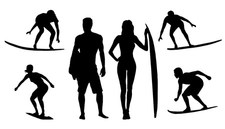 silhouettes de surfer sur le fond blanc Illustration