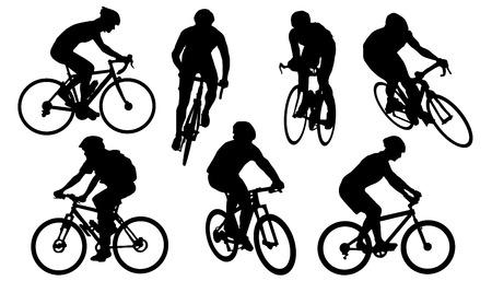 andando en bicicleta: siluetas de la bici en el fondo blanco