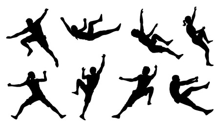 climbing sport: climb silhouettes on the white background