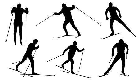 cross country ski silhouettes on the white background Ilustração