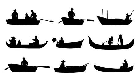 pecheur: sur silhouettes en bateau sur le fond blanc