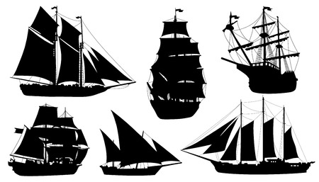historical ship: sailboat silhouettes on the white background Illustration