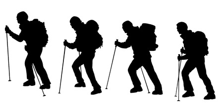 man hiking: hiker v3 silhouettes on the white background