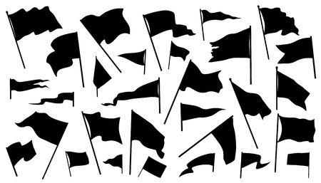 silhueta: silhuetas bandeira sobre o fundo branco Ilustração