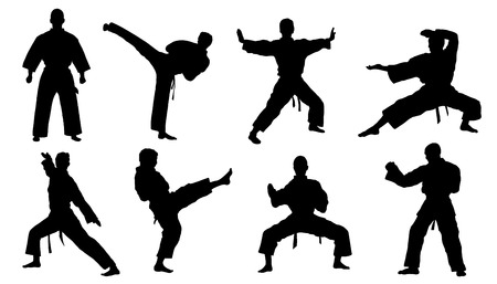 pelea: siluetas de karate en el fondo blanco Vectores