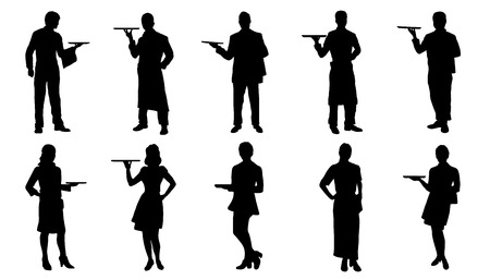 staffs: waiter silhouettes on the white background