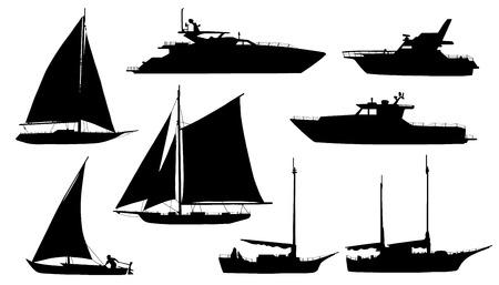 sylwetki jacht na białym tle