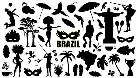 brasil: brasil silhouettes on the white background