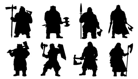 dwarf: dwarf silhouettes on the white background