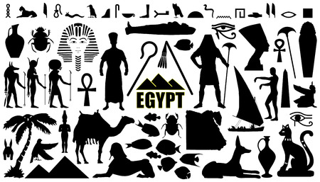 ancient egyptian culture: egypt silhouettes on the white background