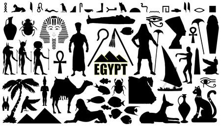egypte silhouettes sur le fond blanc Vecteurs