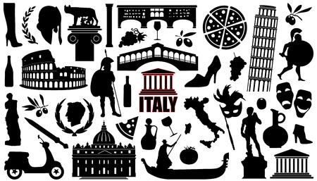 italia siluetas sobre el fondo blanco Vectores
