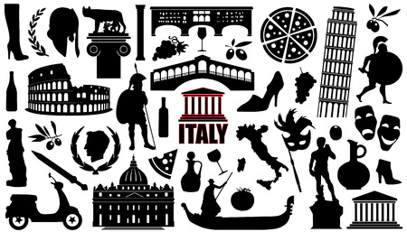 italy silhouettes on the white background 向量圖像