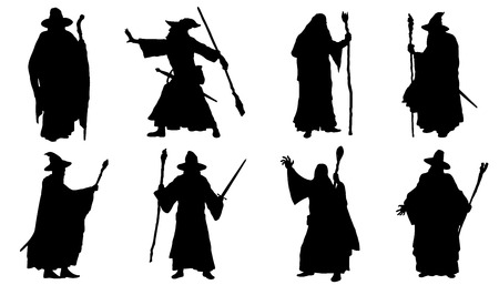 mage: mage silhouettes on the white background