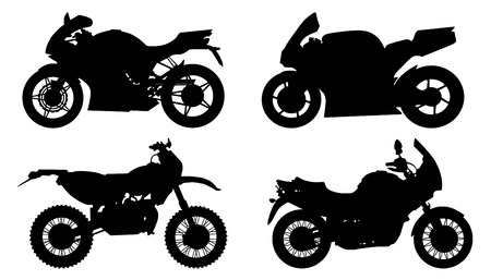 motorbike silhouettes on the white background