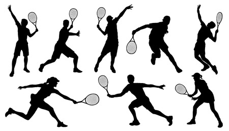 tennis serve: tennis silhouettes on the white background Illustration