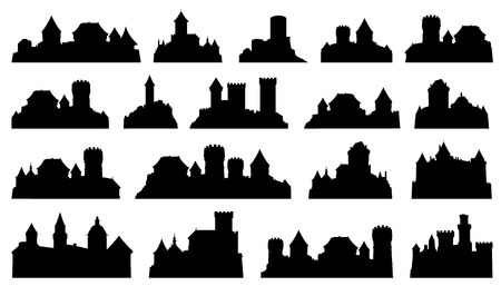 castle silhouettes on the white background Vettoriali