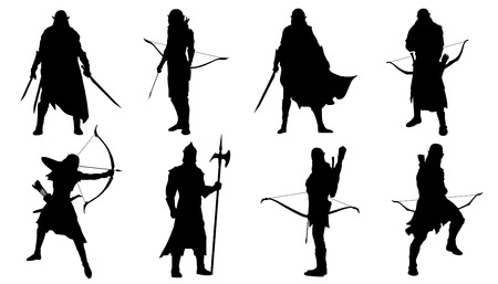 warrior sword: elf silhouettes on the white background Illustration