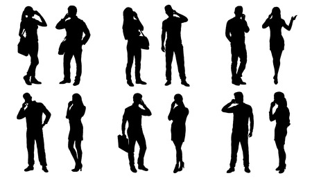people use smartphone silhouettes on the white background Vettoriali