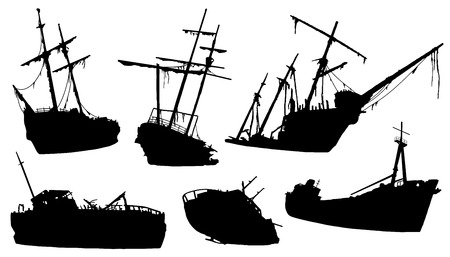 shipwreck silhouettes on the white background