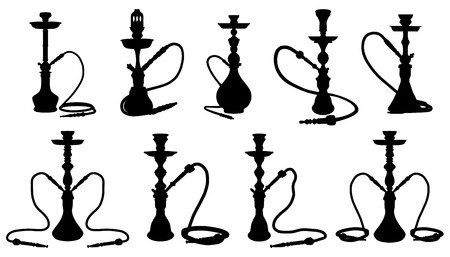shisha silhouettes on the white background