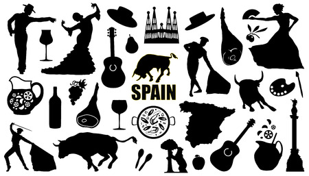 danseuse flamenco: Espagne silhouettes sur le fond blanc