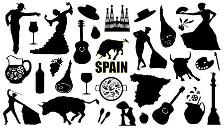 Spanien Silhouetten auf dem weißen Hintergrund