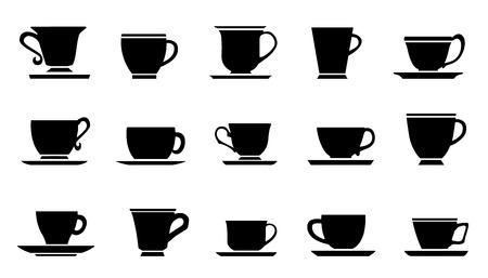 chai: cups improvement silhouettes on the white background Illustration