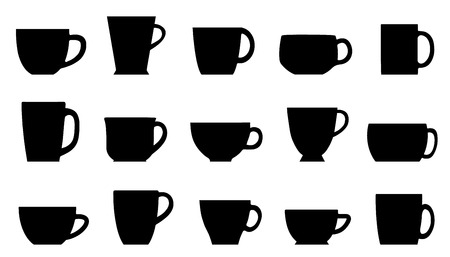 chai: cups silhouettes on the white background Illustration