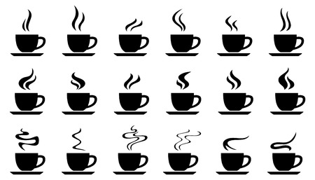 chai: cups smoke silhouettes on the white background