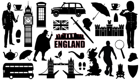 england silhouettes on the white background