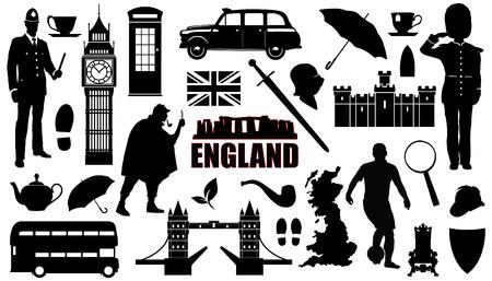 bus anglais: silhouettes Angleterre sur le fond blanc Illustration