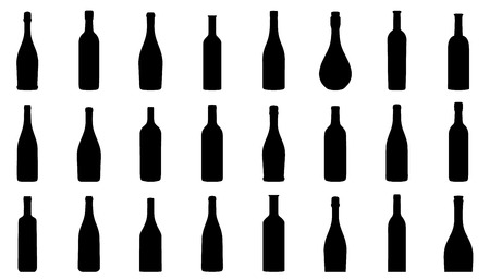 blanc: wine bottle silhouettes on the white background