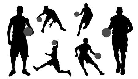 siluetas de baloncesto en el fondo blanco Ilustración de vector