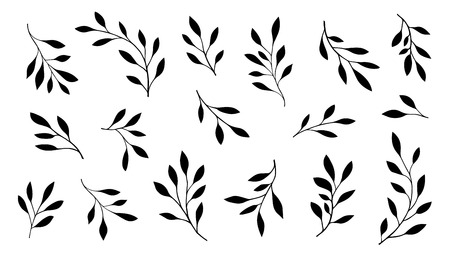 obituary: branch silhouettes on the white background Illustration
