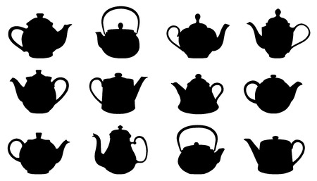 teapot silhouettes on the white background Çizim