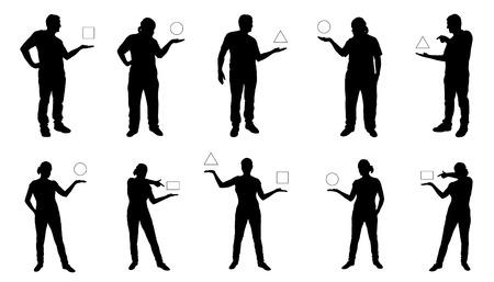 personas de pie: personas que muestran siluetas sobre el fondo blanco