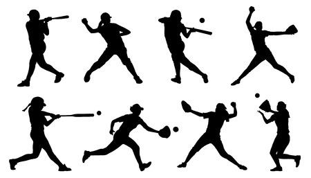feminino: silhuetas softball no fundo branco