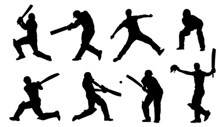 cricket ball: cricket silhouettes on the white background Illustration