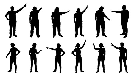 pointing at: people pointing silhouettes on the white background Illustration