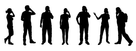 woman on phone: poeple calling silhouettes on the white background