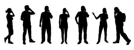 hablando por celular: Poeple llamando siluetas en el fondo blanco