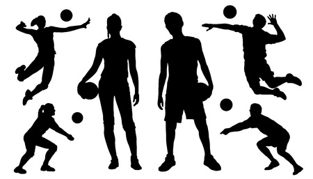 female volleyball: voleyball silhouettes on the white background