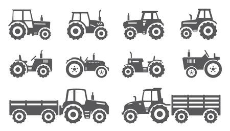 granja: tractores en el fondo blanco Vectores