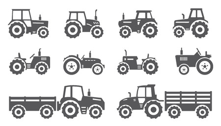 farm equipment: tractors on the white background