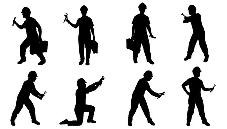 repairman silhouettes on the white background Illustration