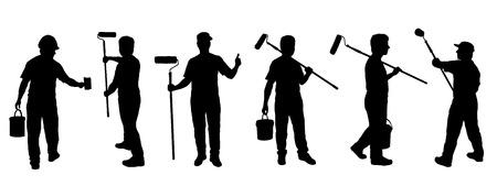 peintre en b�timent: silhouettes de peintre sur le fond blanc