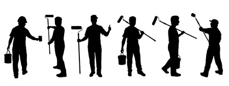 pintor de casas: siluetas pintor en el fondo blanco