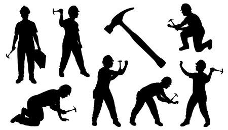 obreros trabajando: martillo manitas en el fondo blanco