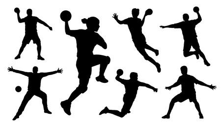 arquero de futbol: siluetas de balonmano en el fondo blanco